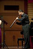 Oboist on wind music chamber music concert — Stock Photo