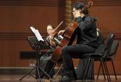 Violoncellist on chamber music concert — Stock Photo