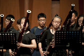 Bassoonist on wind music chamber music concert — Stock Photo