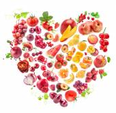 Red Heart of fruits and vegetables — Stock Photo