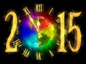 Happy new year 2015 - rainbow planet Earth - America — Stock Photo