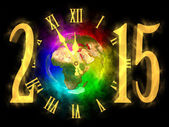 Happy new year 2015 - rainbow planet Earth - Europe, Asia and Africa — Stock Photo