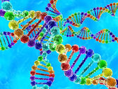 Rainbow DNA (deoxyribonucleic acid) with blue background — Stock Photo