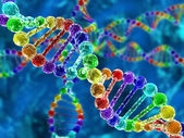 Rainbow DNA (deoxyribonucleic acid) with defocus on background — Stock Photo