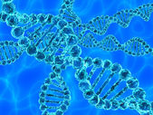 Blue DNA (deoxyribonucleic acid) with waves on background — Stock Photo