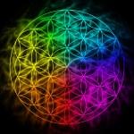 Rainbow flower of life with aura — Stock Photo #68630259