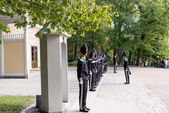 Guards at Royal Palace Oslo Norway — Stock Photo