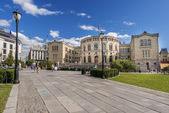 Square on front of Oslo Parlament — Stock Photo