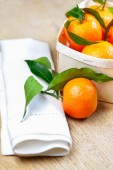 Set of satsuma on wooden table — Stock Photo