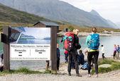 Jotunheimen National Park ferry service with blond — Stock Photo