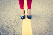 High Heels Girl On Yellow Lines ,Filters Look — Stock Photo