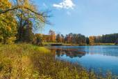 Autumn landscape with lake and forest — Stock Photo