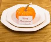 Autumn Thanksgiving dinner table setting — Stock Photo