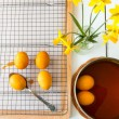 Dyeing Easter eggs natural way with turmeric for mustard - yello — Stock Photo #68428325