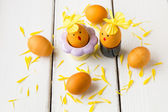 Dyed natural way with turmeric for mustard - yellow color Easter — ストック写真