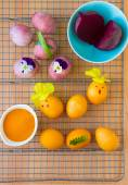Dyeing Easter eggs natural way. — Stock Photo