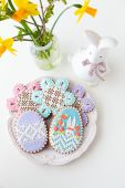 Home-baked and decorated Easter cookies. — Stock Photo