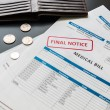 Medical bill from the hospital, concept of rising medical cost. — Stock Photo #72512761