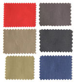 Set of fabric swatch samples texture isolated on white backgroun — ストック写真
