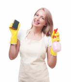 Beautiful woman doing housework in gloves with sponge isolated o — Stock Photo