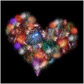 A group of exploding fireworks shaped like a heart. — Stock Photo