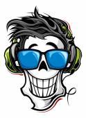 Illustration of Skull with headphones — Stock Vector