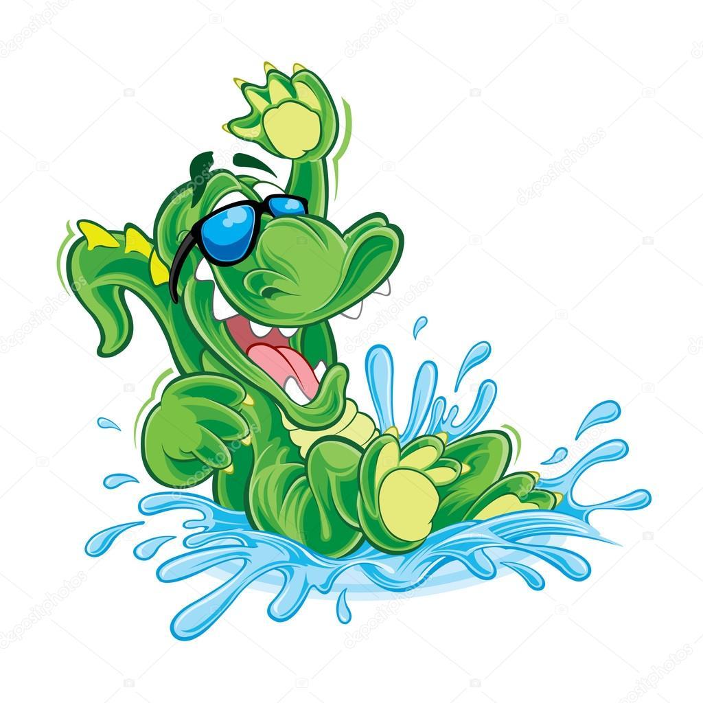 Crocodile cartoon in water