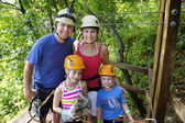 Family enjoying a Zipline Adventure — Stock Photo