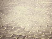 Brick grunge pavement in the city — Stock Photo