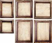 Old wooden frames on wood background — Stock Photo