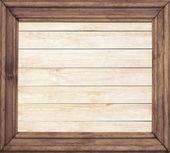 Square wooden frame on wood background — Zdjęcie stockowe