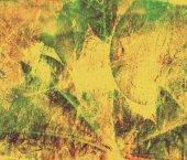 Arka plan sarı, yeşil grunge kolaj sonbahar yaprakları — Stok fotoğraf