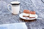Homemade tiramisu on the table with newspaper — Stock Photo