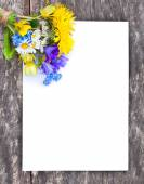 Wildflower bouquet on the oak brown table with white sheet of pa — Stock Photo