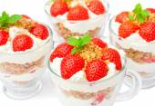 Homemade desert with cream chopped cookies and fresh strawberry  — Stock Photo