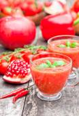 Red healthy vitamin cocktail in the glass cup — Stock Photo