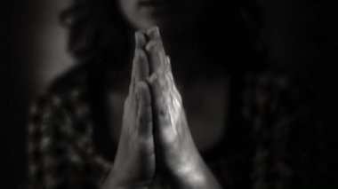 Hand gestures. Woman praying to god. Black and White — Stock Video