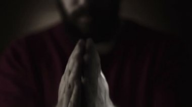 Hand gestures. Man praying to god. Black and White — Stock Video