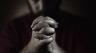 Hand gestures. Man praying to god. Black and White — Stockvideo