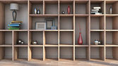 Wooden shelf with vases, books and lamp — Foto Stock