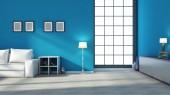 Interior azul com grande janela — Fotografia Stock