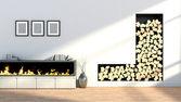 интерьер с камином, вазы и пустые картинки — Стоковое фото