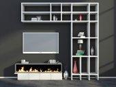Intérieur avec cheminée, de vase et de tv — Photo
