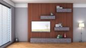 Interno con mensola, vaso e tv — Foto Stock