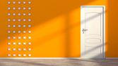 Orange empty interior with white door  — Stok fotoğraf