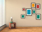 White interior with colorful paintings and lamp — Stock Photo