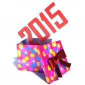 Box with gift new year 2015. 3d illustration — Fotografia Stock