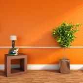 Orange interiör med växt och lampa. 3d illustration — Stockfoto