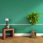 Green interior with plant and lamp. 3D illustration — ストック写真