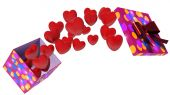 Open box with flying hearts — Stock Photo